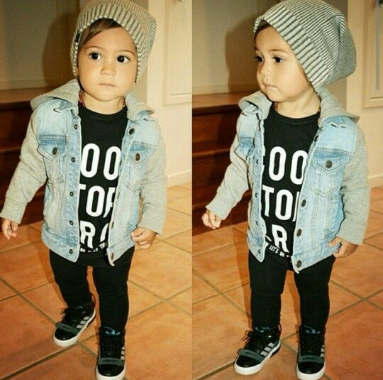 This reminds me so much of my sweet and handsome Liam!!! Cute little boy with a beanie, jean jacket, and black sneakers.