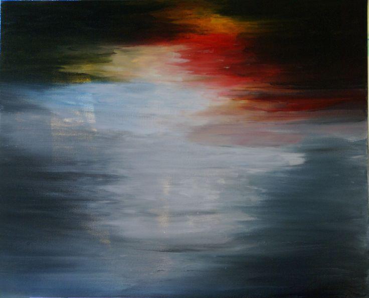 Finger Paint Sunset. Abstract Art