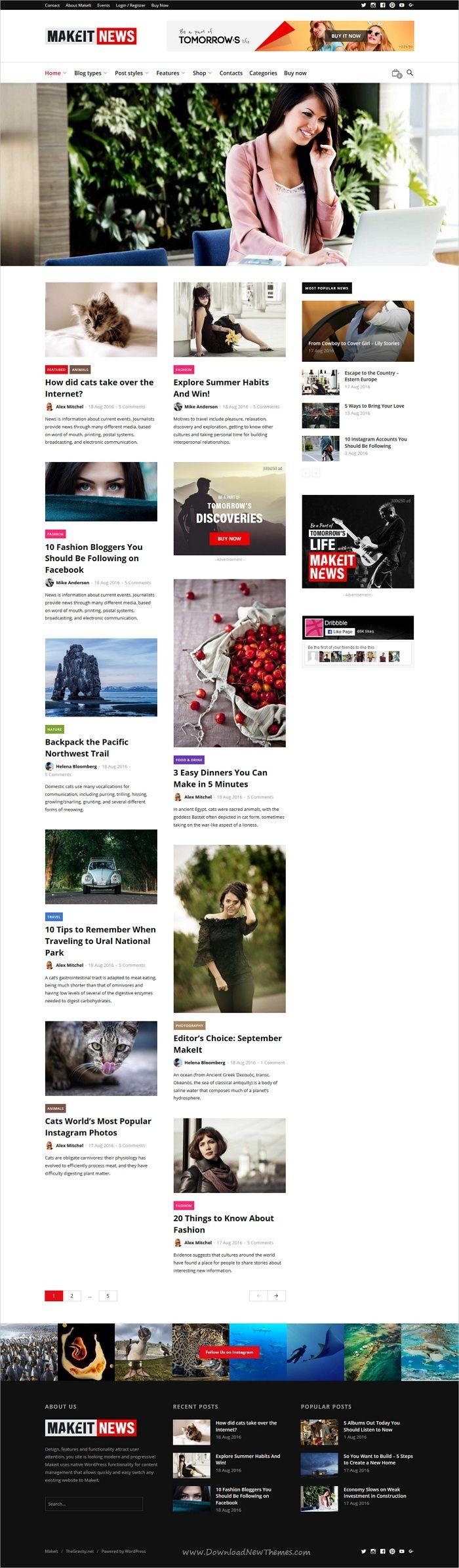 Makelt is a wonderful responsive #WordPress theme for #Newspaper, #magazine and blogs website with multiple homepage layouts download now➩ https://themeforest.net/item/makeit-blog-magazine-wordpress-theme/19378995?ref=Datasata