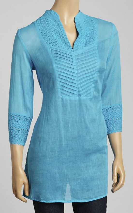 Turquoise Embroidered V-Neck Tunic