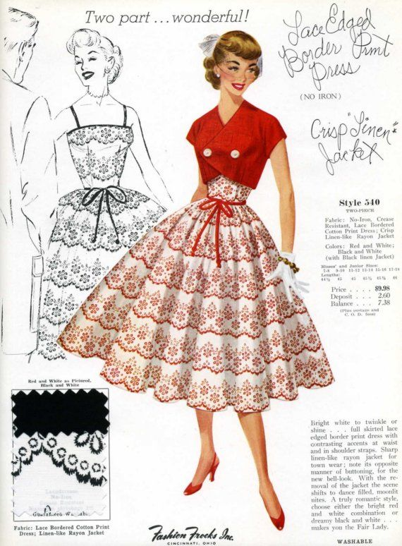 Vintage 1950s Dress Advertisement 9 by 12 Inches by CoconutPie #vintage #fashion
