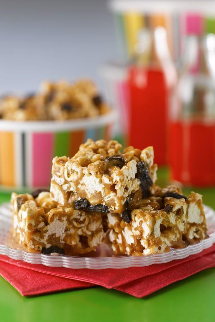Peanut Butter Popcorn Bars Recipe! Chewy, no bake, family-friendly treats! Naturally dairy-free, gluten-free & vegan (optionally peanut-free!).