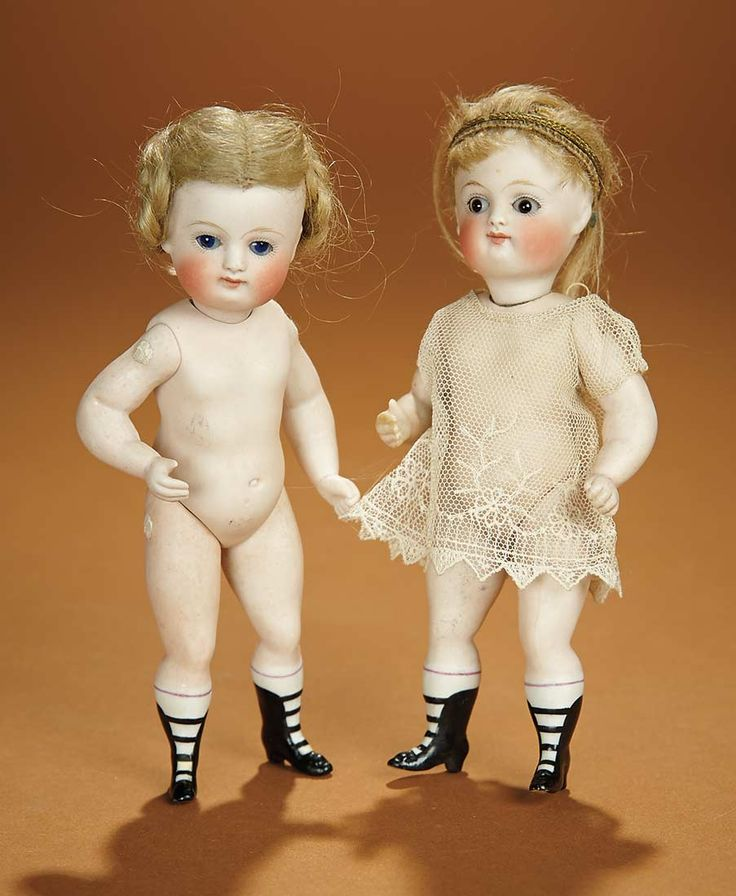 "Two German All-Bisque Dolls by Kestner with Fancy Ankle Boots 6"" (15 cm.)"