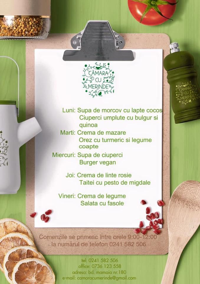 Meniul raw vegan al zilei la Camara cu Merinde