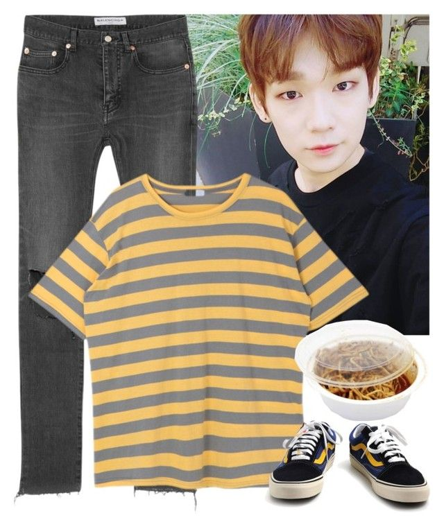 """""""To eat with Takada Kenta (JBJ)"""" by evil-maknae ❤ liked on Polyvore featuring Balenciaga and Vans"""