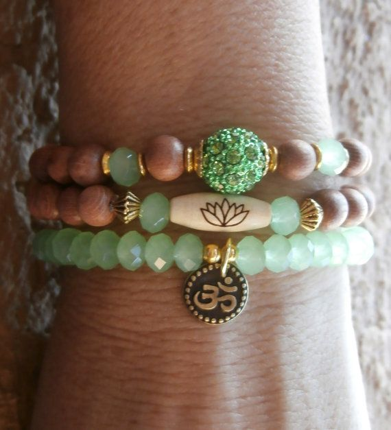 Set of 3 Yoga bracelets Om Lotus bead Pave bead by LifeForceEnergy, $29.00