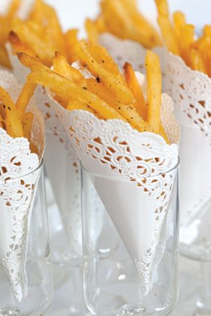 Baked Truffle Fries: I love the presentation here- you can serve anything in a small jar of glass, wrapped in a paper doily--