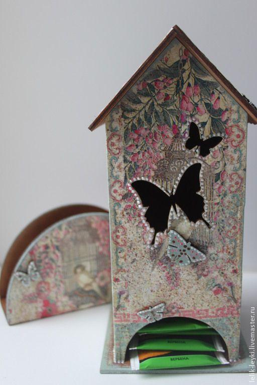 """Купить Чайный домик с салфетницей """"Райский сад"""" - чайный домик, чайный домик декупаж, для чая"""