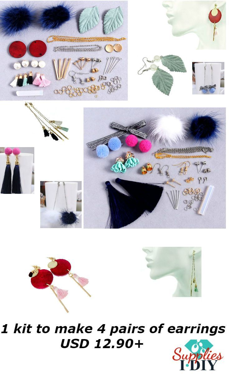 Earring Making, DIY Earring Kit, Earring Mink Fur, Dangle, Wood Earring, Wood charms, Charms Sheet, Blanks Bar, make earring, Accessories