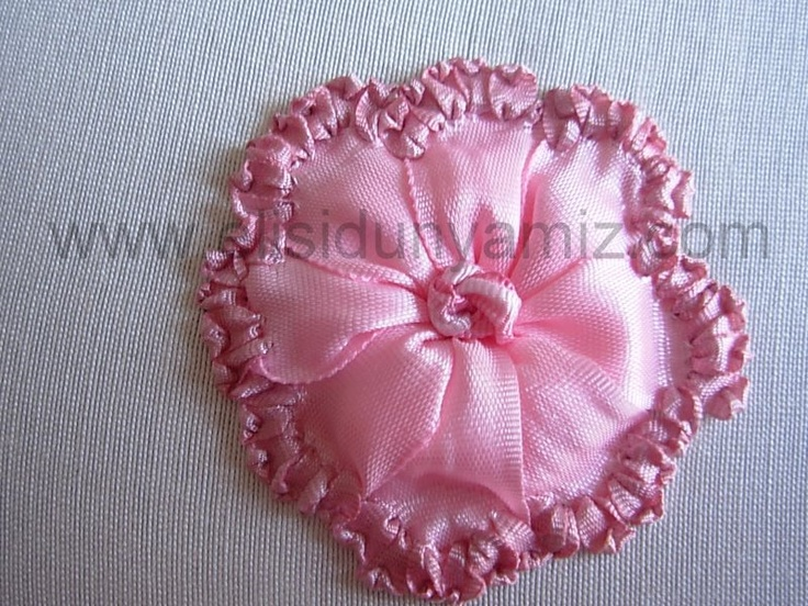 Step by silk ribbon embroidery rose tutorial