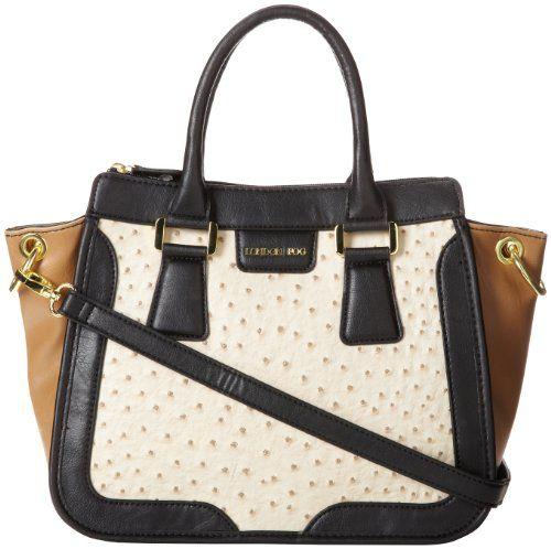 London Fog Tate Satchel Top Handle Bag,Ecru/Black,One Size