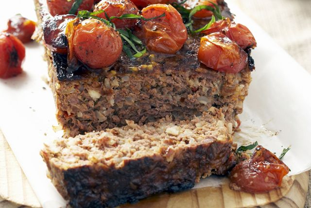 Turkey Meatloaf with Tomatoes, Mozzarella and Basil