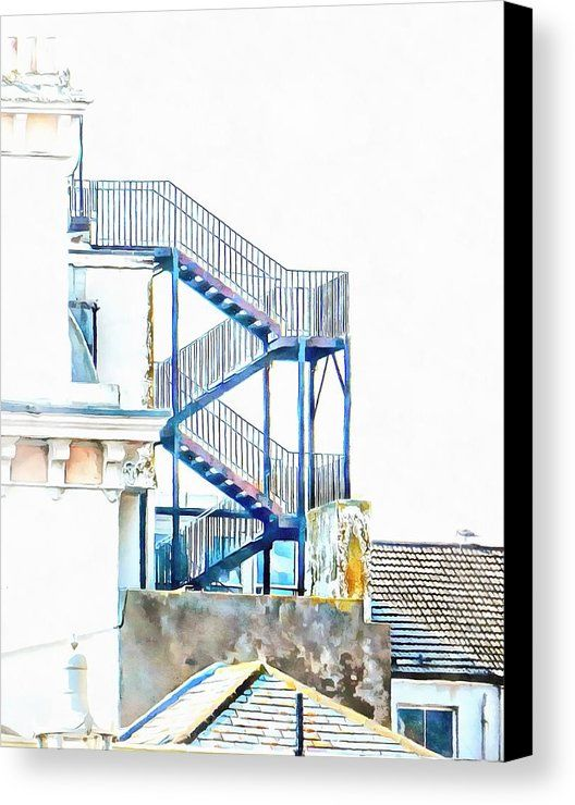 Stairway To The Top by Dorothy Berry-Lound.  I found this fabulous metal fire escape at the back of a hotel on the promenade at Brighton seafront in the UK. I thought it looked great rising above the rooftops. Prints available. All canvas prints are professionally printed, assembled, and shipped within 3 - 4 business days and delivered ready-to-hang on your wall. Choose from multiple print sizes, border colors, and canvas materials.