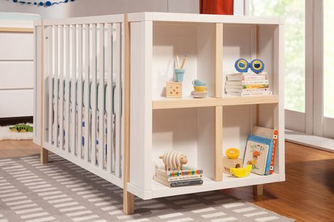 Mid-century style with four built in cubbies on one end, the Bingo Crib combines sleep with storage. Space saving and playfully sleek with contrast color, the B