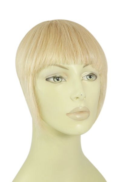 <p>  Instantly change your look with a clip on fringe. Clips on securely to your existing hair. Golden Blonde and Bleach Blonde Mix clip in fringe hair extension, with full instructions included.</p>