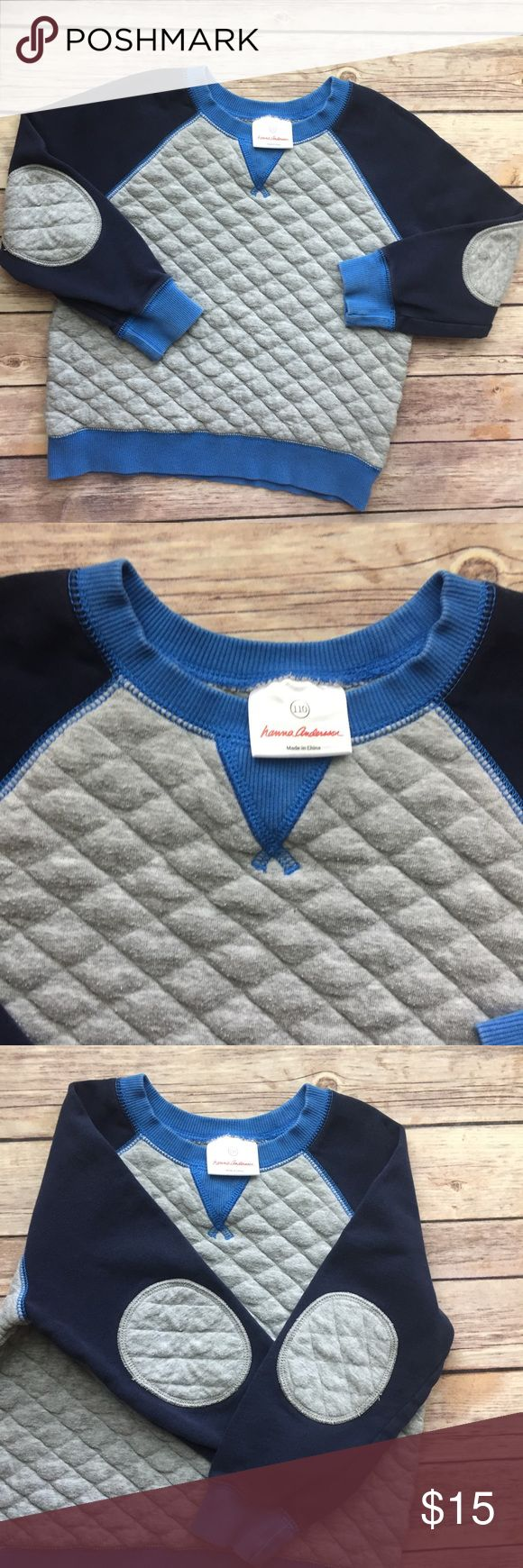Hanna Andersson Boys Quilted Sweatshirt-110 Love this Hanna Andersson Boys Quilted Sweatshirt with elbow patches. Size 110 or US 5-6. In VGUC aside from some light pre-pilling over the Quilted areas of the Sweatshirt. Hanna Andersson Shirts & Tops Sweatshirts & Hoodies