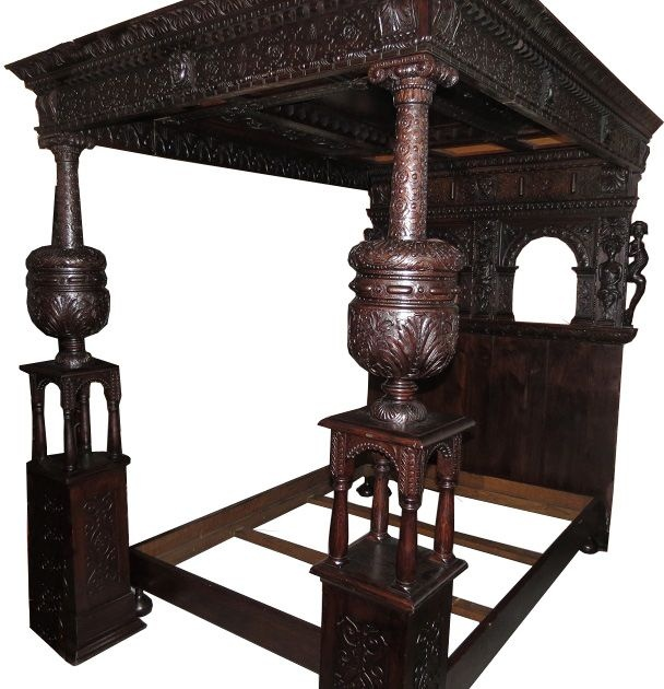 Unusual Antique Renaissance Style English Oak Bed W Carved