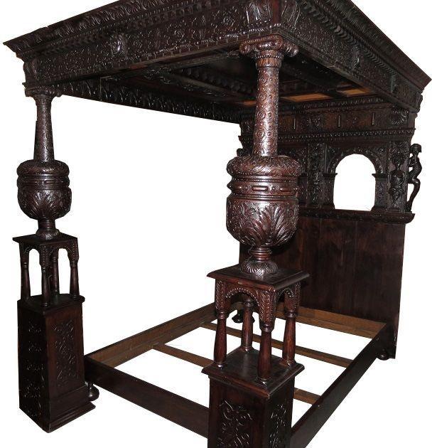 Unique Antique Furniture: Unusual Antique Renaissance Style English Oak Bed W Carved
