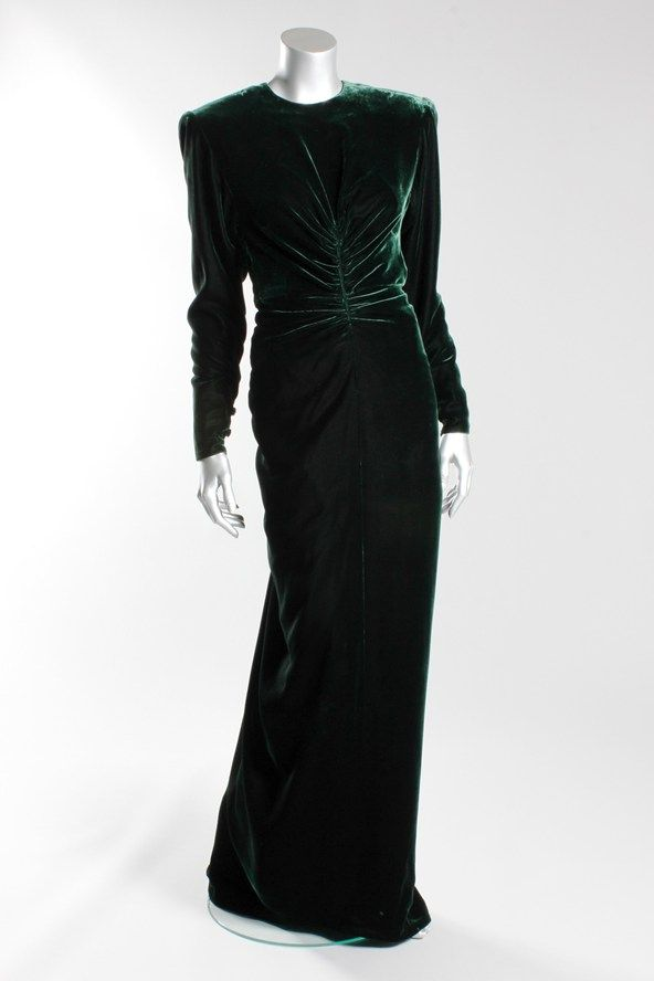 Victor Edelstein bottle green velvet evening gown, worn for private entertaining 1985, by Princess Diana.