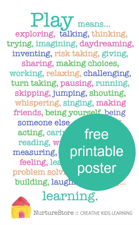 Why is play important for children's development? So many reasons! You can use this free printable poster as a reminder of all the benefits of play.