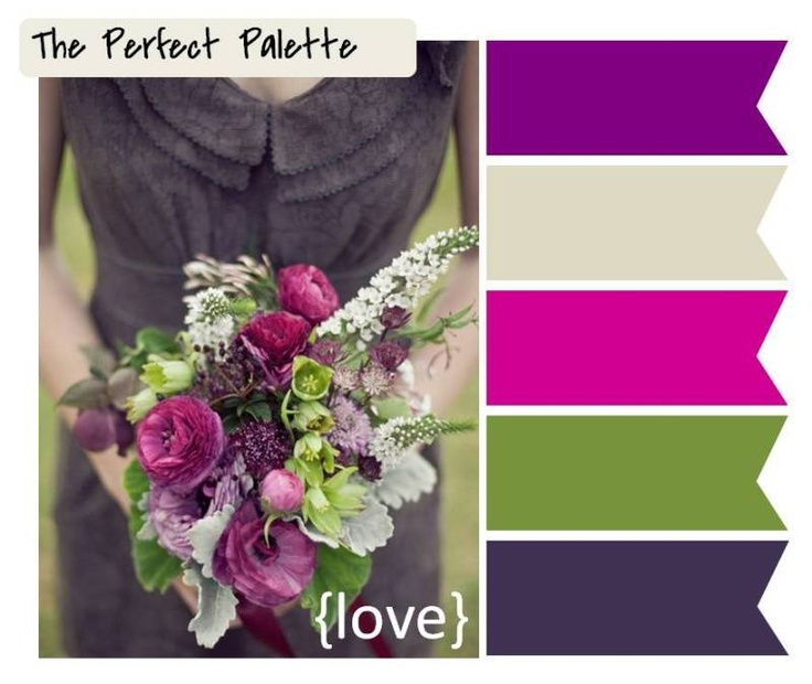 Lime and purpleColors Pallets, Perfect Palettes, Fall Wedding Purple Flower, Wedding Bouquets, Fall Wedding Colors Purple, Wedding Colors Fall Green, Colors Palettes, Fall Weddings, Fall Flower Wedding Purple
