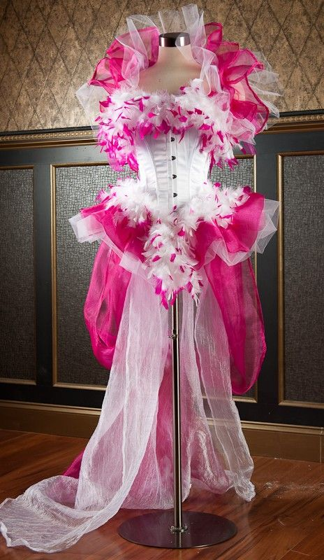Size small Burlesque corset dress, costume, steampunk, lingerie, las vegas showgirl pink and white with train