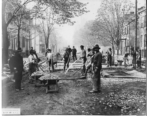 """Italian labourers laying cobblestones on King Street in 1903. MHSO Collection, ITA-200372 """"From the 1890s and into the early-20th century, there was employment available in northern Ontario (and elsewhere in the province) in the form of railway construction and maintenance, in mining, agriculture and similar sectors."""" #BTWG #seniors #Ontario #Toronto Photo credit: Heritage Toronto: Our Memories Are Here"""