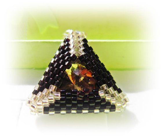 Silver -black triangle Swarovski rivoli crystal beaded pendant necklace