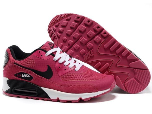 original 2014 Dam Nike Air Max 90 Hyperfuse Premium Rosa Blixt/Svart-Vita Sportskor online rea