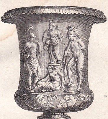 Gravure-XVIIIe-Vase-Sacrifice-Iphigenie-Ulysse-Diomede-Mythologie-Grecque