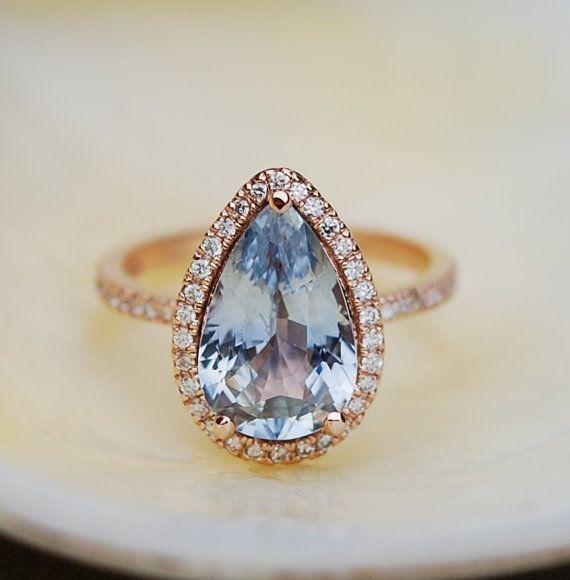 Major bling. Obsessed. Blue Sapphire Engagement Ring 14k Rose Gold by EidelPrecious«