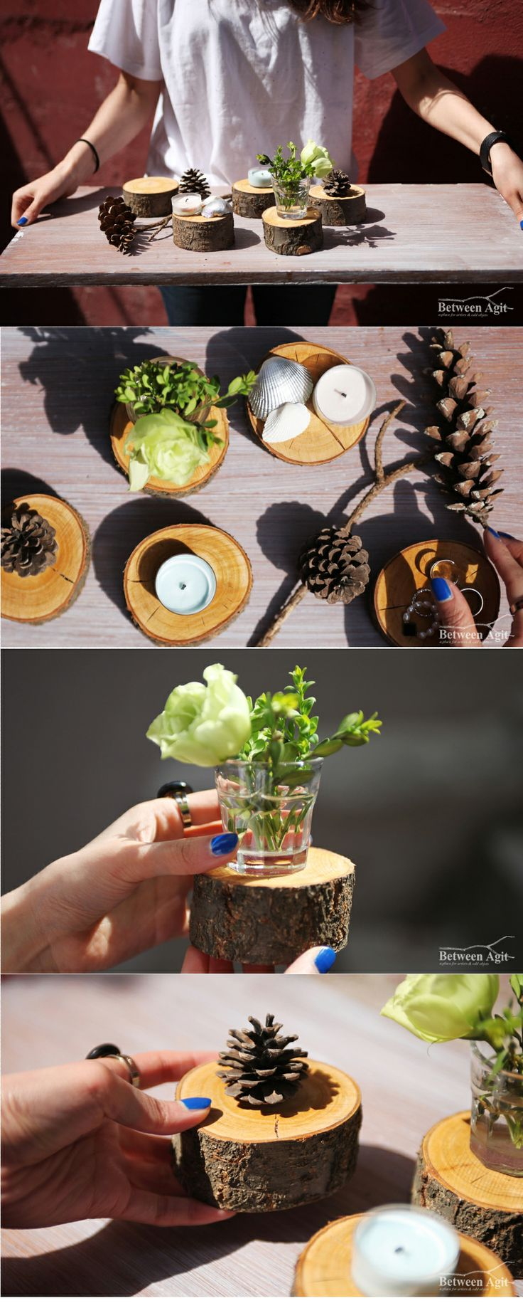 cherry wood coaster, 솔방울, cone, betweenagit 전지된 벚나무를 활용해 만든 우드코스터 비트윈아지트의 식목일 이벤트