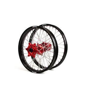 SM Pro Wheels Honda Black Rims Red Hubs Wheel Set