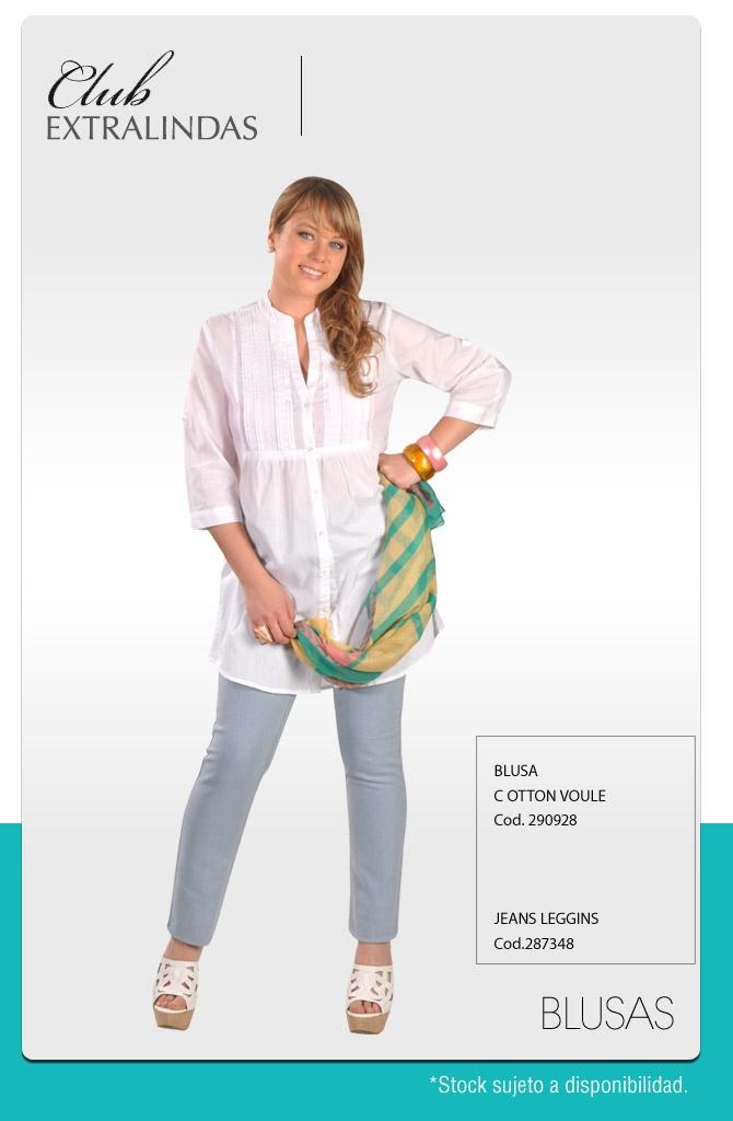 Blusa Cotton voule $ 14.990 / Jeans Leggins$ 14.990