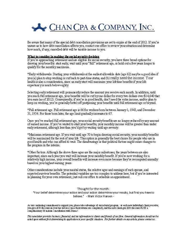 July 2012 Newsletter Page 2 Newsletters, Cpa, Monthly
