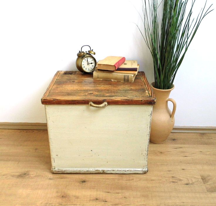 Vintage Storage Bench Coffee Table Wood Trunk Treasure White Hope Chest Distressed Large Box with Lid Display Case Cottage Farmhouse Decor by WoodHistory on Etsy
