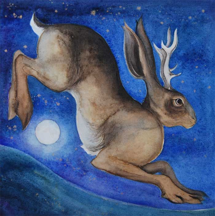 Jackalope or jackaloupe, a mythical horned hare in the moonlight, with a crescent moon caught in his eye. Almost finished but not quite.