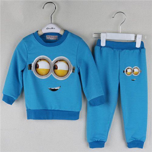 2016 New baby boys Despicable Me cotton Minion clothing sets 2pcs kids long sleeve T shirt + pant spring autumn children clothes