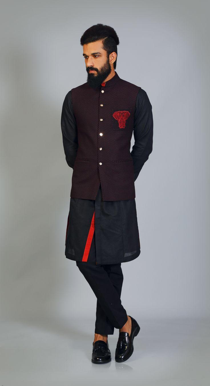 Black #Wine #Textured #Sadri #Ganesha #Emblem #ShirtKurta wine details #Aligarhi #Payjama WhatsApp  +919350301018