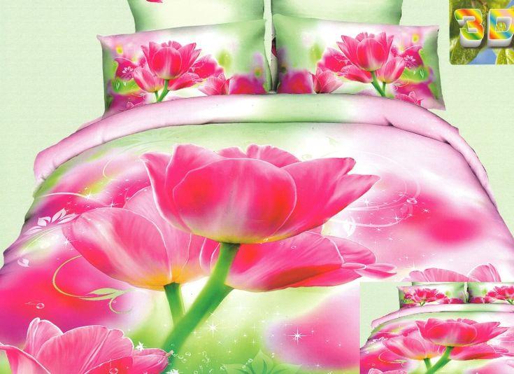 Zielona pościel 100% bawełna w różowe tulipany