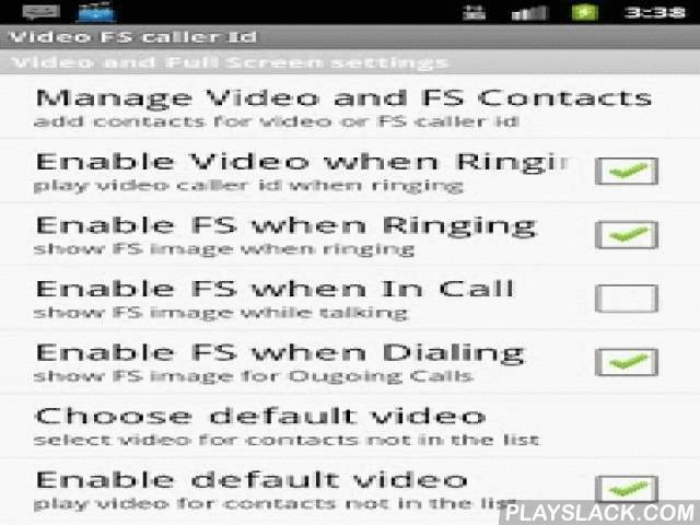 """Video Full Screen Caller ID Tr  Android App - playslack.com , Video ringtone. Video caller id. Full screen caller id.Use a Video clip or a Picture from your phone's gallery as a caller id. you may also use a video clip as your default ringtone.it can also speak out the sender's name and contents of an sms.this is a trial version which can be used for 4 days. If you like it please consider upgrading to pro version: """"Video full screen caller id pr""""features: *add video contacts and select a…"""