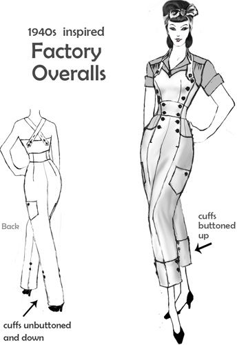 1940s inspired Factory Overalls  design By Amber Middaugh #Rockabilly #1940s  #Retro