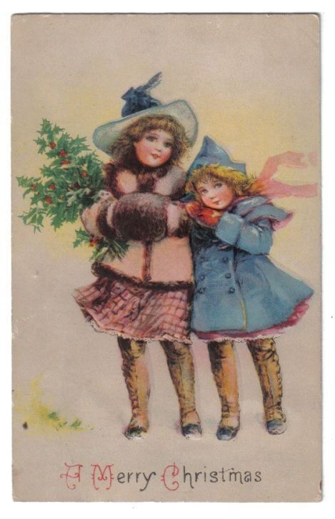 Two Girls in Coats & Long Boots Hug~Pine Limbs~Muff~Christmas~1907+ #Christmas