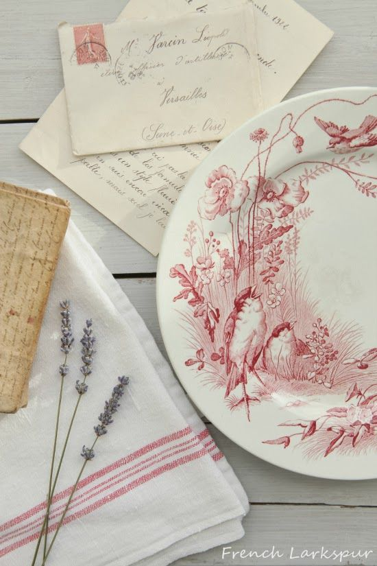Lovely faded red dishes with sweet little birds!!! Bebe'!!! Love these Pink (Red) Transferware Dishes!!! Perfect for spring!!!