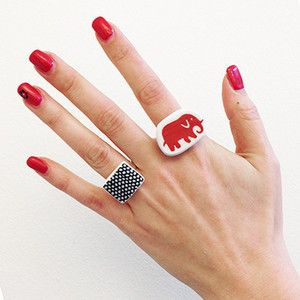 Ring Net and Ring Elefant - Rings manufactured from recycled porcelain. The porcelain is from FilippaK and Svenskt Tenn.