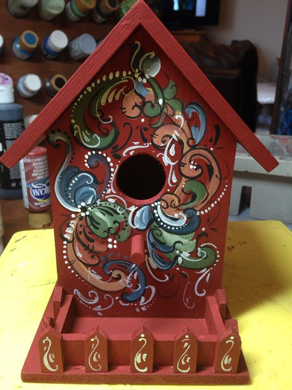 This decorative birdhouse would make a great wedding or house warming gift for your favorite Scandinavian bird lover!  This particular birdhouse was a gift for my dad but I can make yours the same or in a color scheme of your choosing!  Measures about 7 3/4 and 6 deep at the base.