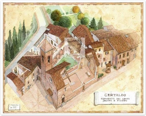 Yet another beautiful watercolour by the local artist Massimo Tosi, depicting the inside of the Agostinian Convent in Certaldo Alto, Tuscany. Have a look in the past! #certaldo #tuscany #certaldoalto www.hotelcertaldo.it