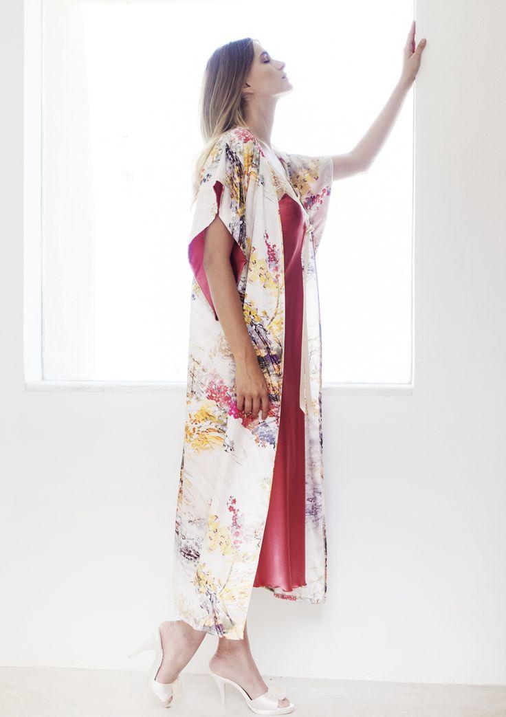 Printer Satin Japanese-cut Robe from #Nota_lingerie
