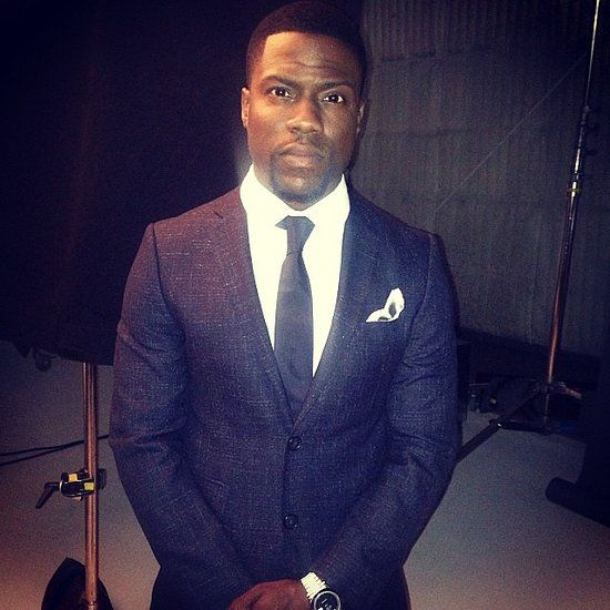 : Kevin Hart was all business in a sleek suit on the set of a photo shoot.