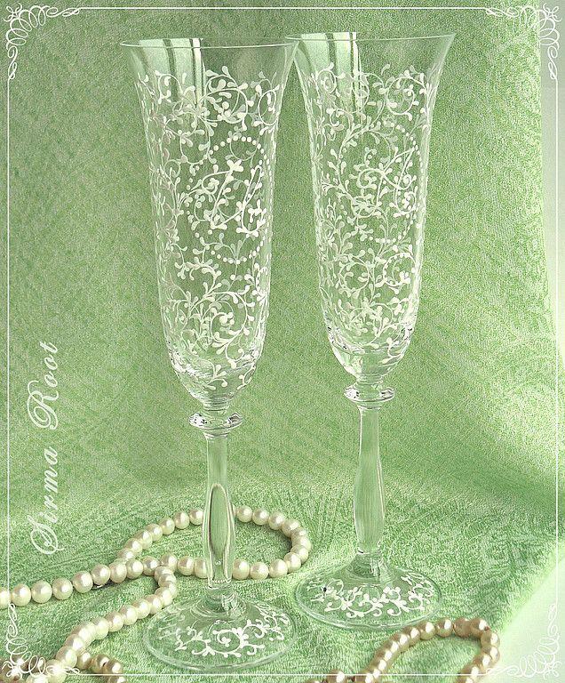 """Купить Свадебные бокалы """"Анжелика с монограммой"""" - свадьба, свадебные бокалы, богемское стекло, подарок на свадьбу"""